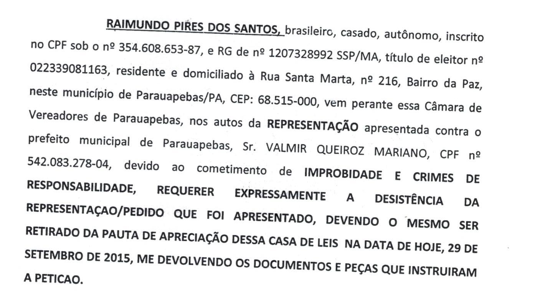 IAutônomo retira pedido de afastamento do prefeito Valmir Mariano